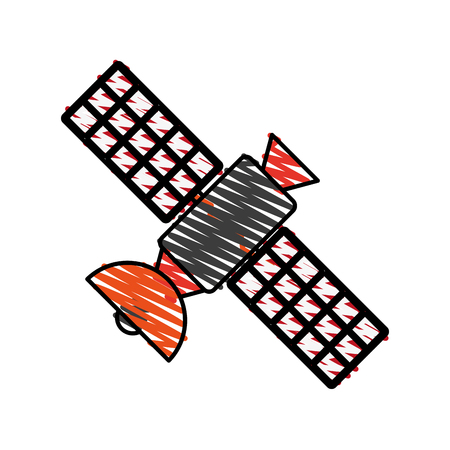 wireless: satellite transmission telecommunication icon image vector illustration scrawl