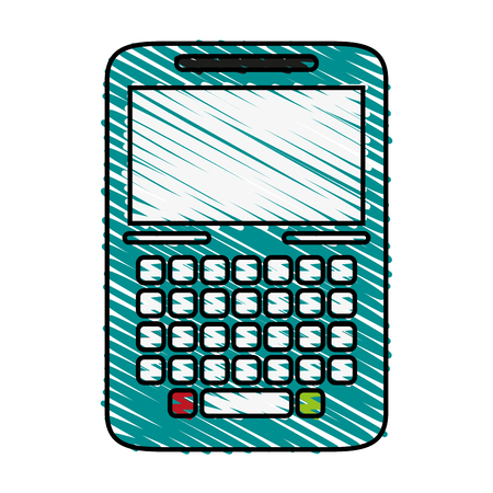 wireless: blank screen cellphone with buttons icon image vector illustration scrawl