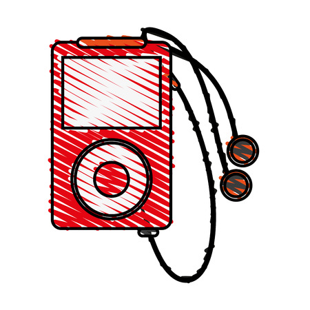 portable music player with earphones icon image vector illustration scrawl