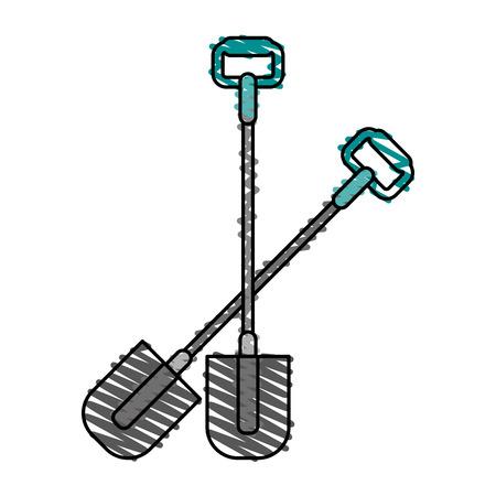 garabatos: shovel gardening tool icon image vector illustration scrawl