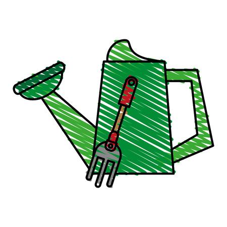 watering can gardening tool icon image vector illustration scrawl Illustration