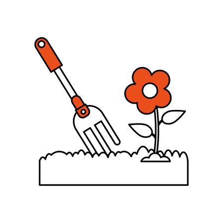 rake gardening tool icon image vector illustration design Illustration