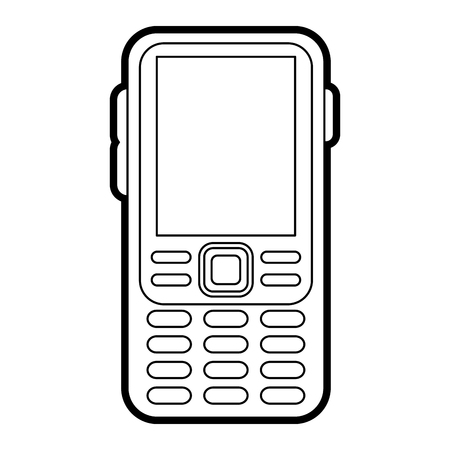 display: blank screen cellphone with buttons icon image vector illustration draw Illustration