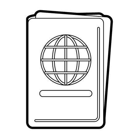 documentation: Flat line uncolored passport over white background vector illustration