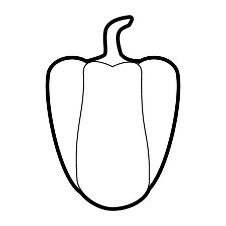 Flat line uncolored pepper over white background vector illustration Illustration