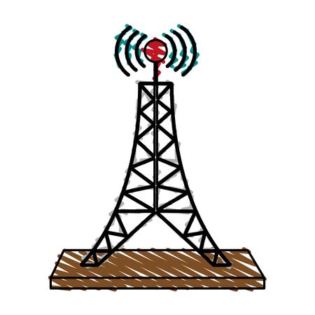 Antenne telecommunicatie pictogram afbeelding vector illustratie scrawl Stockfoto - 82721428