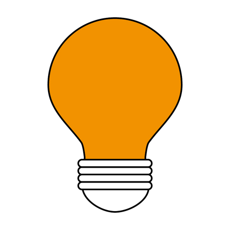 Flat line light bulb with a hint of color over white background Illustration