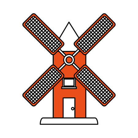 Flat line windmill with a hint of color over white background