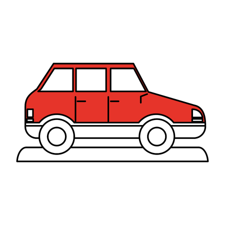 Flat line car with a hint of color over white background Illustration