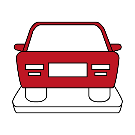 automobile door: Flat line car with a hint of color over white background Illustration