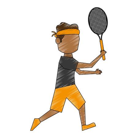 Jugador de tenis colorido doodle sobre fondo blanco ilustración vectorial Foto de archivo - 82721294