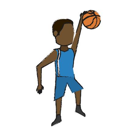 흰색 배경 벡터 일러스트 레이 션을 통해 다채로운 낙서 농구 선수