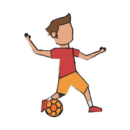 Jugador de fútbol colorido doodle sobre fondo blanco ilustración vectorial Foto de archivo - 82721311