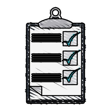 checklist: Colorful doodle checklist over white background vector illustration Illustration
