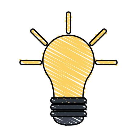Colorful doodle light bulb over white background vector illustration