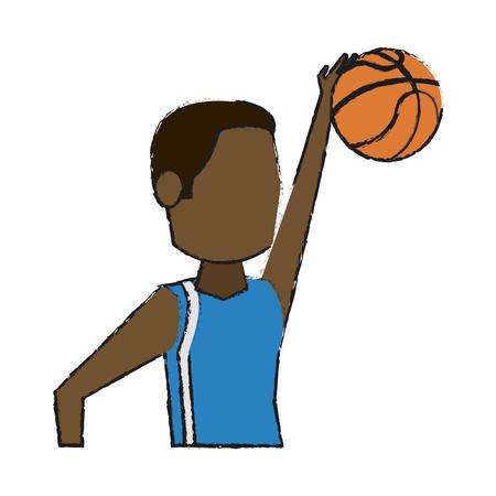 Jugador de baloncesto colorido doodle sobre fondo blanco ilustración vectorial Foto de archivo - 82721346