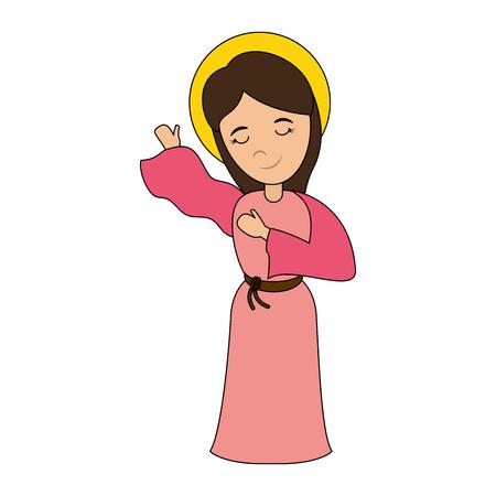 축복받은 거룩한 처녀 마리아 아이콘 벡터 일러스트 그래픽 디자인 일러스트