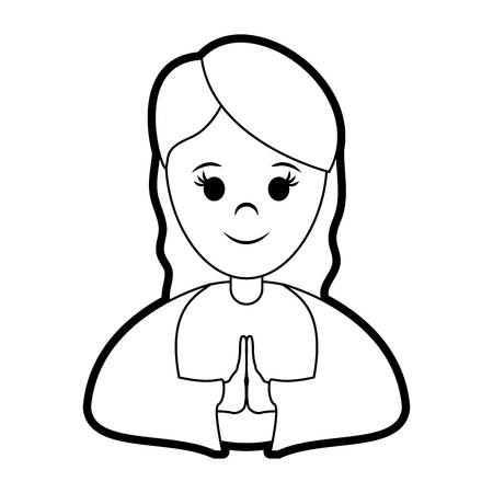 black maria: A blessed holy virgin mary icon vector illustration graphic design. Illustration