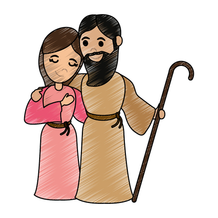 A virgin mary and saint joseph cartoon vector illustration graphic design.