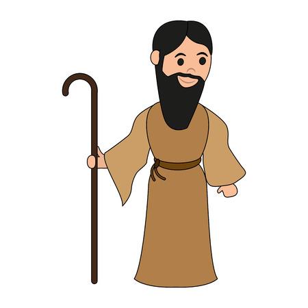 Saint Joseph Cartoon Vector illustratie grafisch ontwerp Vector Illustratie