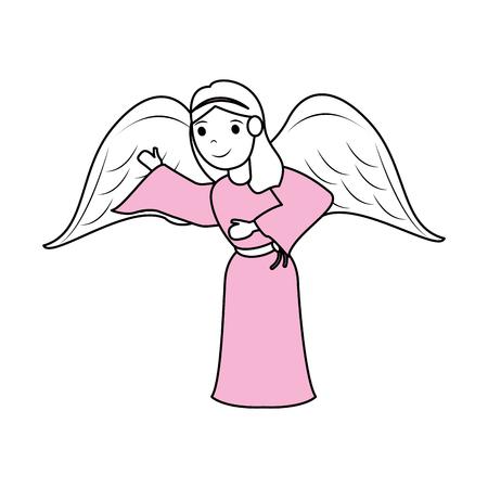 humor: cute angel cartoon vector illustration graphic design Illustration
