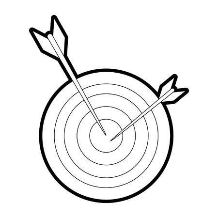 Flat line uncolored target and dart over white background vector illustration