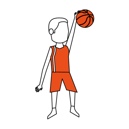 Flat line basketball player with hint of color over white background