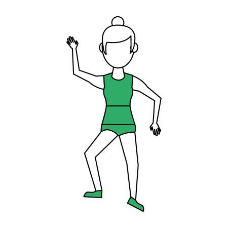 Flat line sports woman with hint of color over white background Ilustração