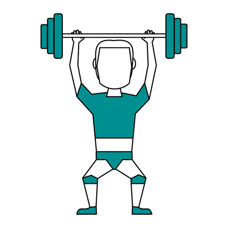 Flat line weightlifter with hint of color over white background Ilustração