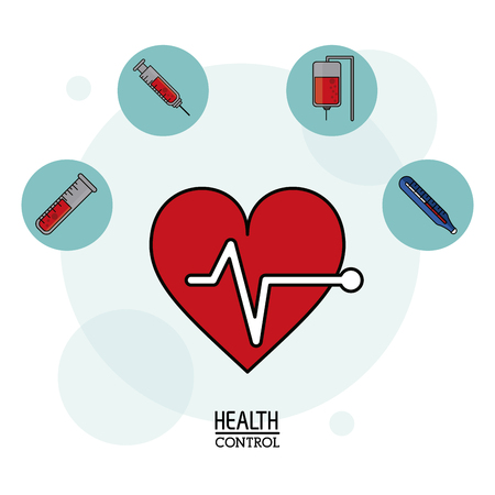 colorful Poster in white background with pulse heart icon in closeup and silhouette icons of health control on top vector illustration