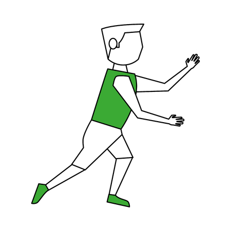 Flat line sports man with hint of color over white background