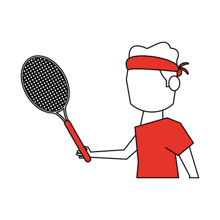 Flat line tennis player with hint of color over white background