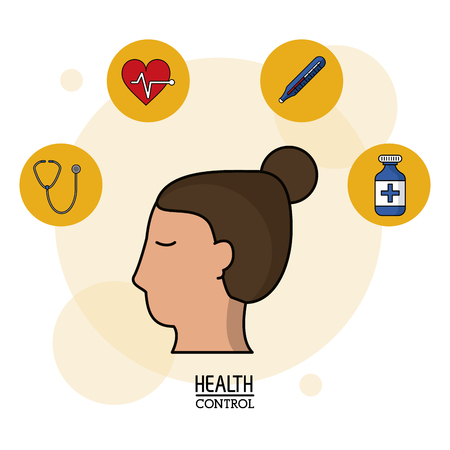colorful Poster in white background with woman head in closeup and silhouette icons of health control on top vector illustration Illustration