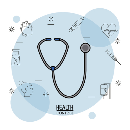 heart disease: Poster white background with black silhouette icons of health control in background and colorful stethoscope icon in closeup vector illustration