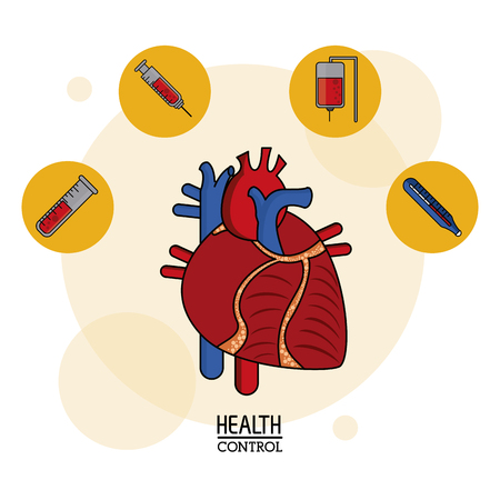 heart disease: colorful Poster of health control in white background with human heart system and icons on top vector illustration