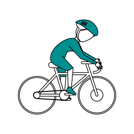 Flat line cyclist with hint of color over white background