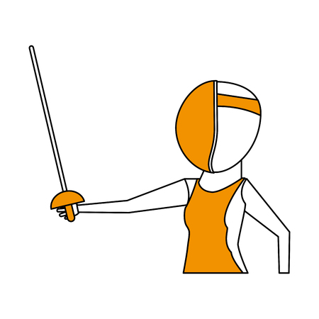 Flat line fencer with hint of color over white background