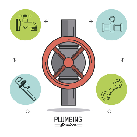 tube wrench: white background poster plumbing services with color stopcock and plumbing icons around vector illustration