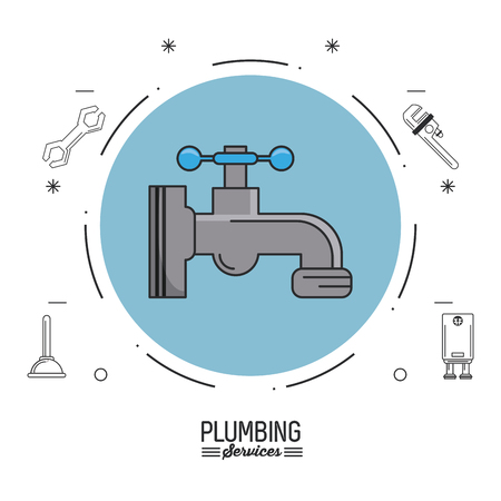 white background poster plumbing services with color circle with faucet and plumbing icons vector illustration