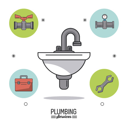 white background poster plumbing services with sink in closeup and plumbing icons around vector illustration