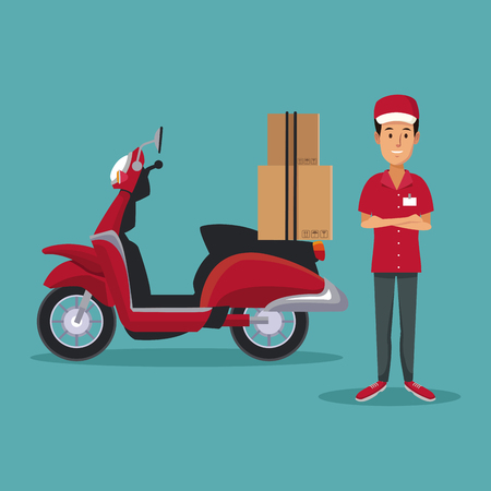color background with man worker with scooter and packages fast delivery vector illustration