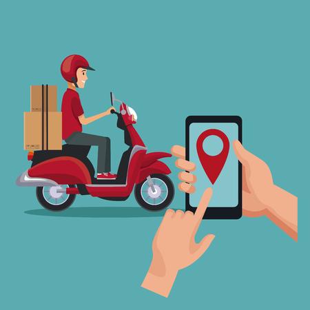 fondo de color con el hombre trabajador en la localización de scooter y teléfono inteligente ilustración vectorial Ilustración de vector