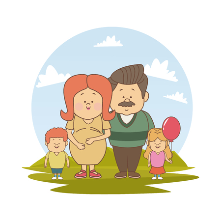 white background with color silhouette landscape with pregnancy mom old father and little kids vector illustration