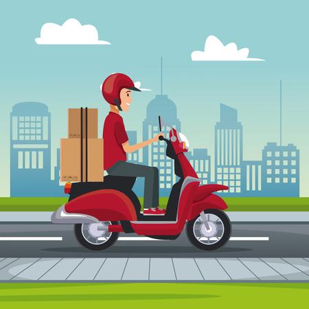 poster stad landschap met snelle levering man scooter met pakketten vector illustratie