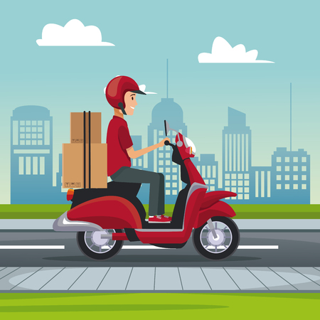 poster city landscape with fast delivery man scooter with packages vector illustration