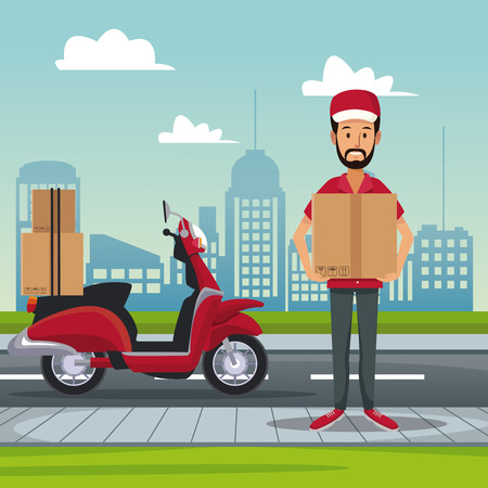 poster city landscape with scooter and man carrying packages fast delivery vector illustration Illusztráció