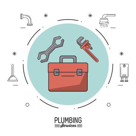 white background poster plumbing services with color circle with plumbing toolbox and pipe wrench and spanner vector illustration