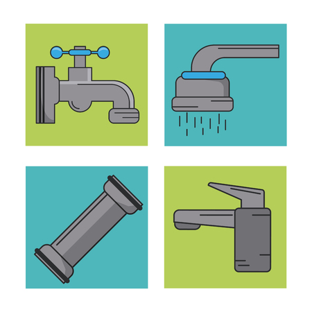 tube wrench: white background with frames of water faucets and pipeline vector illustration