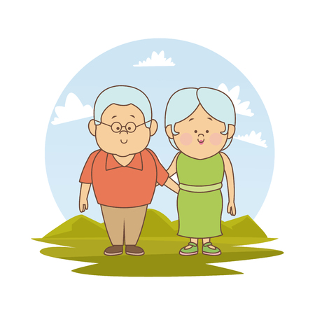 white background with color silhouette landscape with elderly couple embraced vector illustration Illustration