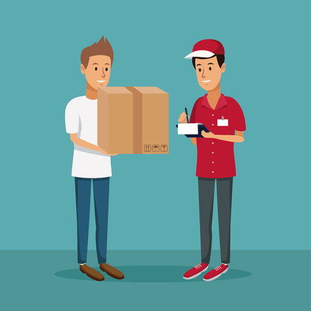 color background with men worker with packages and order to customer fast delivery vector illustration